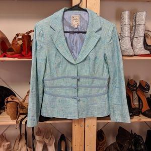 Nanette Lepore Blue Tweed Skirt Suit Set